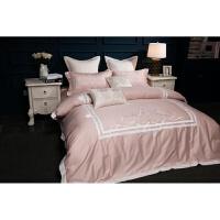 60支粉色四件套新婚庆套件欧式绣花结婚床上用品床单被套