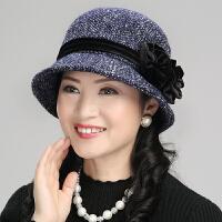 中老年妈妈渔夫帽优雅女士帽子女春秋冬保暖时尚贝雷帽休闲小盆帽