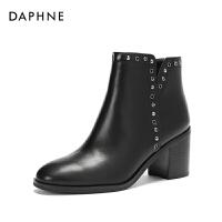 【12.12提前购2件2折】Daphne/达芙妮2017冬切尔西短靴 个性金属拼接时尚高跟及踝靴女