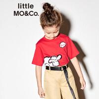 【折后价:89.7】littlemoco夏季新品女童T恤纯棉胶印小绵羊图案圆领短袖T恤