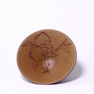 紫泥粉浆 精品斗笠杯寿桃 助理工艺美术师手工刻绘 100cc