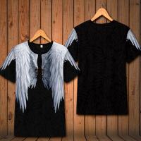 夏季男装新品原创天使翅膀羽毛印花短袖T恤个性潮青少年休闲衣服