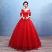 新款新娘婚纱礼服 韩式 双肩一字肩红色婚纱 红色