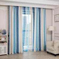 窗帘成品简约现代清新田园地中海风格北欧遮光卧室客厅书房飘窗帘