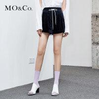 MOCO夏季新品丝绒松紧腰侧口袋直筒短裤MA182SOT201 摩安珂