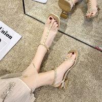 户外罗马中跟女士凉鞋时尚仙女风透明铆钉搭配裙子的鞋子