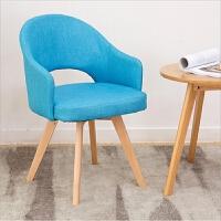 【品牌热卖】北欧实木餐椅家用现代简约单人沙发电脑椅子靠背咖啡厅书桌椅 天蓝色