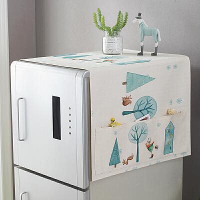 海尔冰箱双开门布罩冰箱盖布北欧风西门子防尘罩棉麻布艺家用盖巾厨房布罩 新品活动