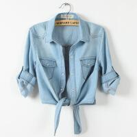 新款韩版胖mm薄款牛仔大码小坎肩衬衫打结衬衣披肩女外套