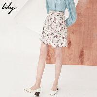 【25折到手价:99.75元】 Lily春季新款女装时尚不对称裙摆印花半身裙短裙118120C6211