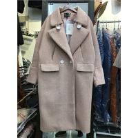 T4大衣女中长款加厚韩版翻领修身显瘦仿貂绒毛呢外套2017冬季1.65