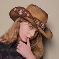 户外运动牛仔帽子女遮阳草帽太阳帽男民族风女士礼帽