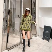 七格格打底针织衫女长袖2019新款冬季韩版格子宽松套头洋气上衣潮
