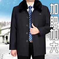男宽松加厚胖子特大中老年棉衣外套男爸爸装 黑灰色 A05 0码 100-125斤