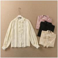 夏季新品圆领薄款长袖单排扣雪纺衫女24636