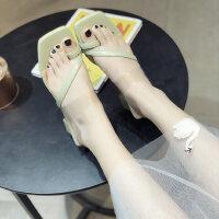 韩版套趾抹茶绿时尚粗跟休闲一字拖高跟鞋方头拖鞋女外穿