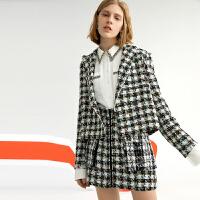 【2件3折 折后价:181】LILY女装格纹花纱箱型西装领短外套