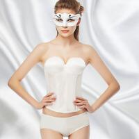 新娘无肩带文胸婚纱礼服内衣隐形露背聚拢胸罩托胸束身衣小胸加厚