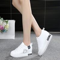 白色低帮女鞋厚底帆布鞋初中学生板鞋内增高小白鞋休闲鞋