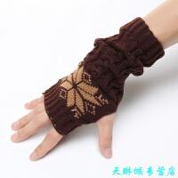 半指手套男韩版 男士分指手套 毛线男露指手套冬季手套男 均码