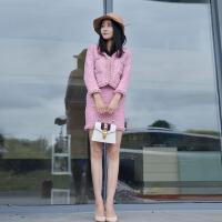 小香风包臀裙套装女2018秋冬新款时尚气质修身名媛韩版毛呢两件套
