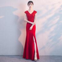 东材新娘敬酒服2018新款春季V领鱼尾开叉修身长款红色结婚晚礼服裙女