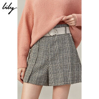 Lily2019秋新款女装时尚格子拼接通勤设计感直筒短裤休闲裤女5909