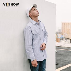 VIISHOW2018新款衬衫潮牌春季休闲长袖衬衫条纹情侣男士学生装