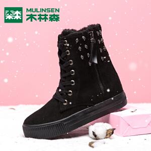 木林森女鞋冬季加绒保暖靴子女纯色中筒靴韩版平底棉鞋防滑雪地靴