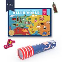 贴万花筒组合套装认知玩具地图磁力贴磁性拼图冰箱