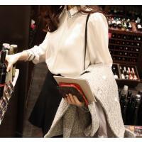 韩观2017春季新款女装韩版衬衣潮显瘦打底衫冬季韩范长袖加绒白衬衫女 白色