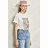 【到手价:91元】Amii极简时尚印花全棉T恤2020夏季新款圆领短袖中长款宽松上衣女