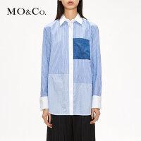 【到手价:249,全场直降叠加满减,11.19 - 11.22】MOCO个性撞色拼接粗细条纹长袖纯棉衬衫MA173SH