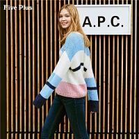 Five Plus女装条纹长袖毛衣女圆领套头衫几何撞色拼接chic