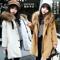 女童羊羔绒大衣冬季韩版毛领中大儿童加厚加绒灯芯绒外套