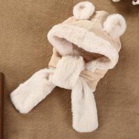活力熊仔 婴儿配饰秋冬毛绒长边系带毛绒卡通动物熊仔耳朵可爱宝宝帽子
