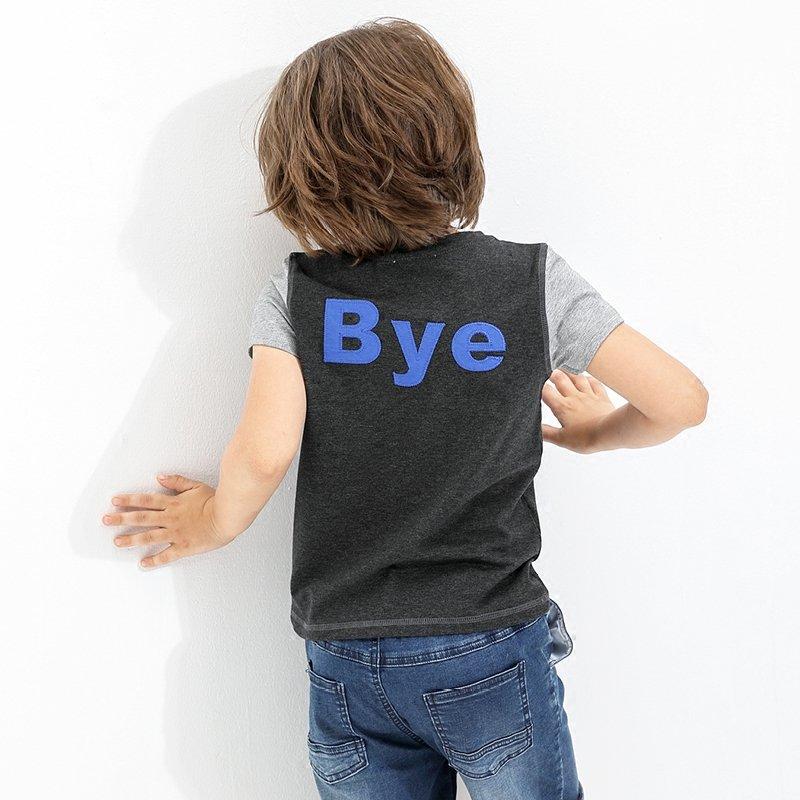 【会员节! 每满100减50】amii童装2017夏季男童绣花短袖中大童撞色休闲简约儿童T恤夏装