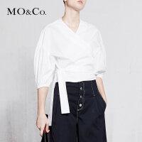 MOCO春季新品交叉V字领绑结七分袖衬衫MA181TOP121 摩安珂