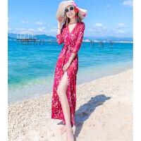 夏季V领dvf裹身裙裹胸连衣裙开叉性感修身度假长裙沙滩裙子 图色