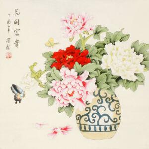 著名画家 萧泽龙《花开富贵》68cmx68cm