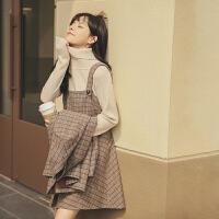 格子背带连衣裙2019冬季新款女装韩版复古高腰无袖内搭打底短裙子