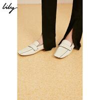 【5/26-6/1 一口价:199元】 Lily夏新款时髦简约洋气方头踩脚式拖鞋乐福鞋女119200JZD01
