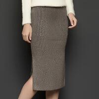 秋冬新款高腰弹力包臀裙针织半身裙中长款开叉裙毛线一步裙子 均码(适合腰围1尺8到2尺4)