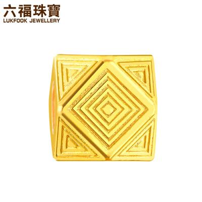 六福珠宝埃及系列方形纹理黄金转运珠吊坠DIY串珠 L05TBGP0007象征稳固的方形图案 尊贵大气
