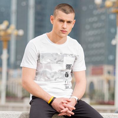 361度男装2018夏季男子圆领短T恤361秋季印花棉透气吸汗白色短袖热销直降 立即抢购