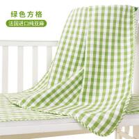 纯亚麻婴儿凉席新生儿床单夏季小孩透气儿童席子幼儿园宝宝床凉席 法国进口100%纯亚麻 绿色方格