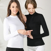 T恤秋冬季黑色长袖打底衫修身体恤女装半高领贴身上衣大码