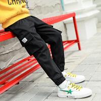 儿童工装裤休闲运动裤绒厚款秋冬季2018新款韩版男孩裤子