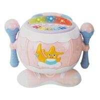 婴幼儿玩具 旋转声光拍拍鼓音乐玩具故事机宝宝儿童早教益智礼盒装生日礼物 粉色