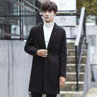 英伦风衣男士呢子大衣修身中长款秋冬季日系潮牌呢大衣西装领外套